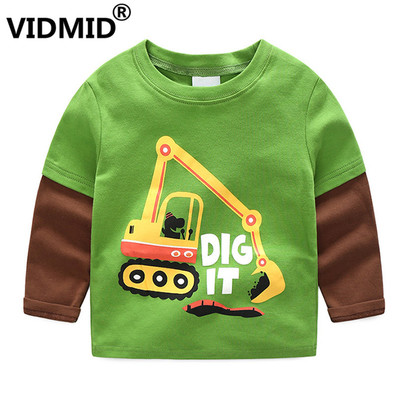 VIDMID Baby Boys Long Sleeve Cothes T-shirts Kids Cartoon Tractor Cars T-shirts Boys Cotton Clothing Tees Tops For 1-8 Years
