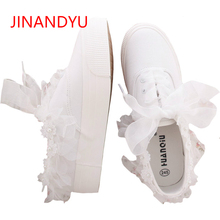 Woman White Canvas Sneakers 2018 Spring Autumn Comfortable Casual Flat Shoes Female Girls Sweet Flower Pearl