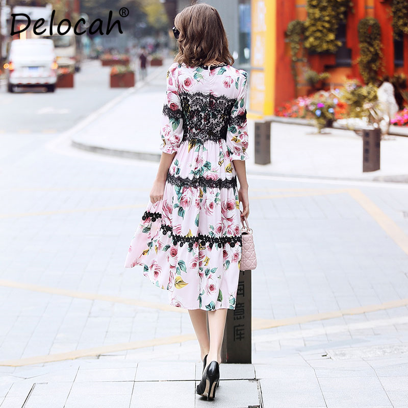 Moda Diseñador Mujer Verano Impreso De longitud Precioso Slim Mitad Delocah Encaje Multiple Vestidos Primavera La Manga Pista Rosa Vestido Rodilla qY4F0