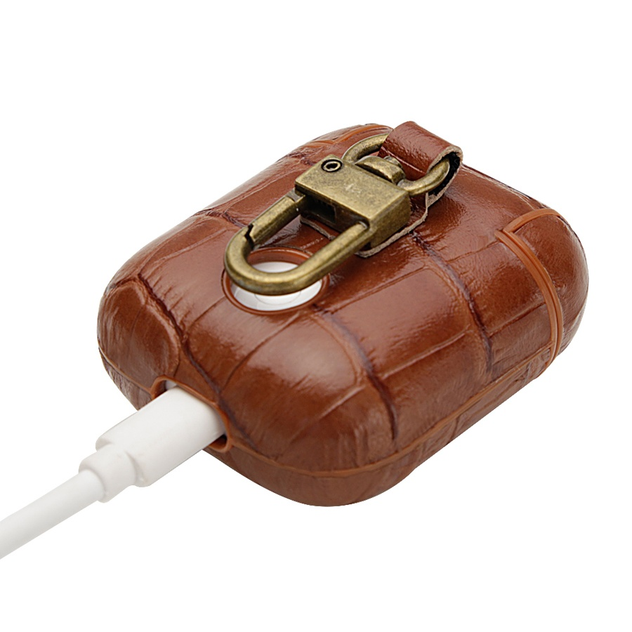 Genuine Leather Back Cover Case Apple AirPods Earphones Crocodile Grain Coque Handmade Classic Capas Real Leather in Earphone Accessories from Consumer Electronics