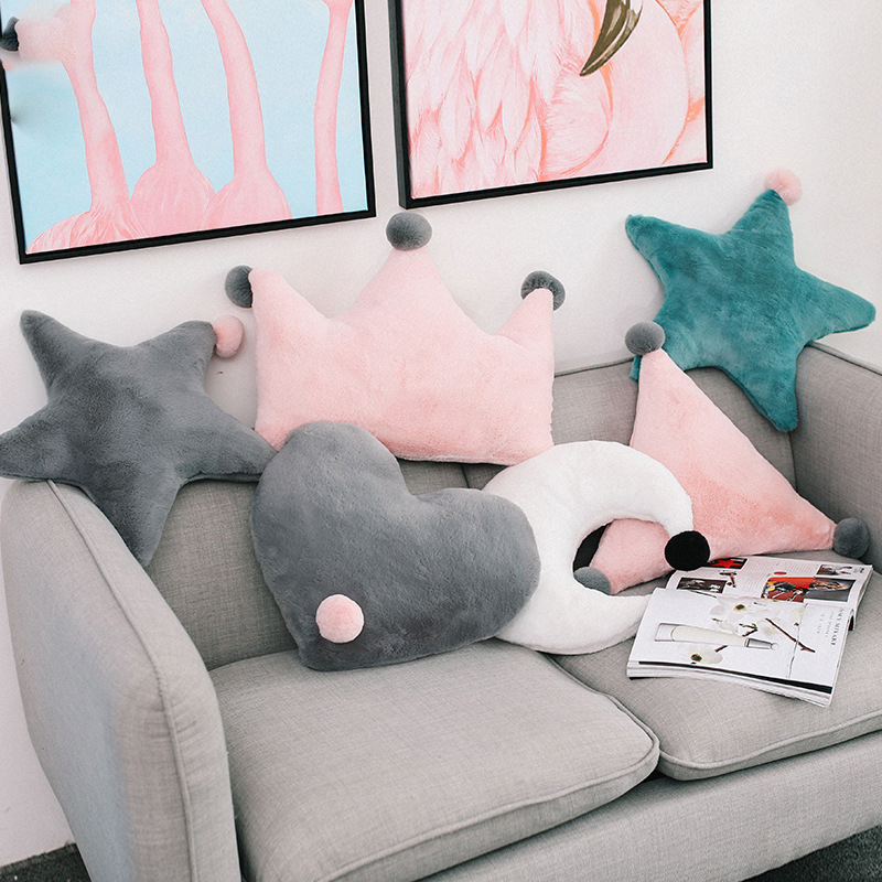 Cilected Heart Short Plush Cushion Pp Cotton Stars Moon Crown Toy Sofa Cushion Pillow Home Decoration Soft Car Seat Cushion 1PC