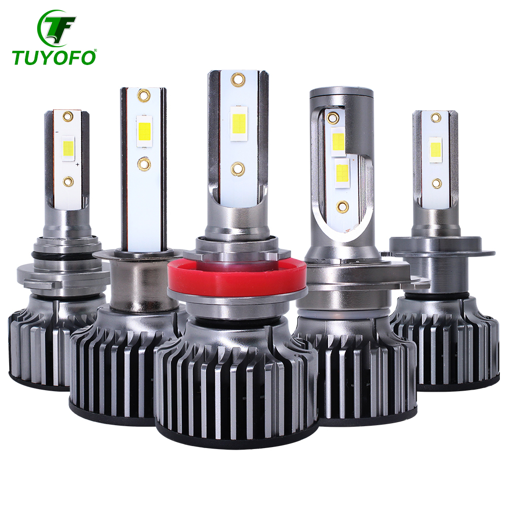 Tuyofo 2pcs Car Headlight Bulbs turbo <font><b>led</b></font> h7 h4 <font><b>canbus</b></font> super h1 <font><b>h3</b></font> h8 h11 9005 9006 9012 HIR2 10000LM EMC LUMILEDS CSP image