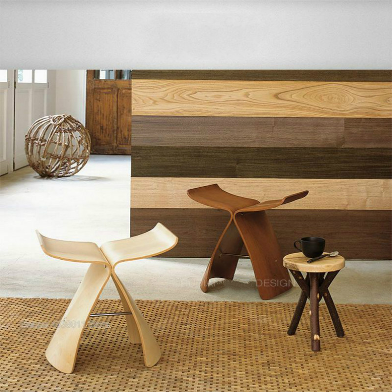 Creative Solid Wood Butterfly Stool Solid Wood Foot Stool