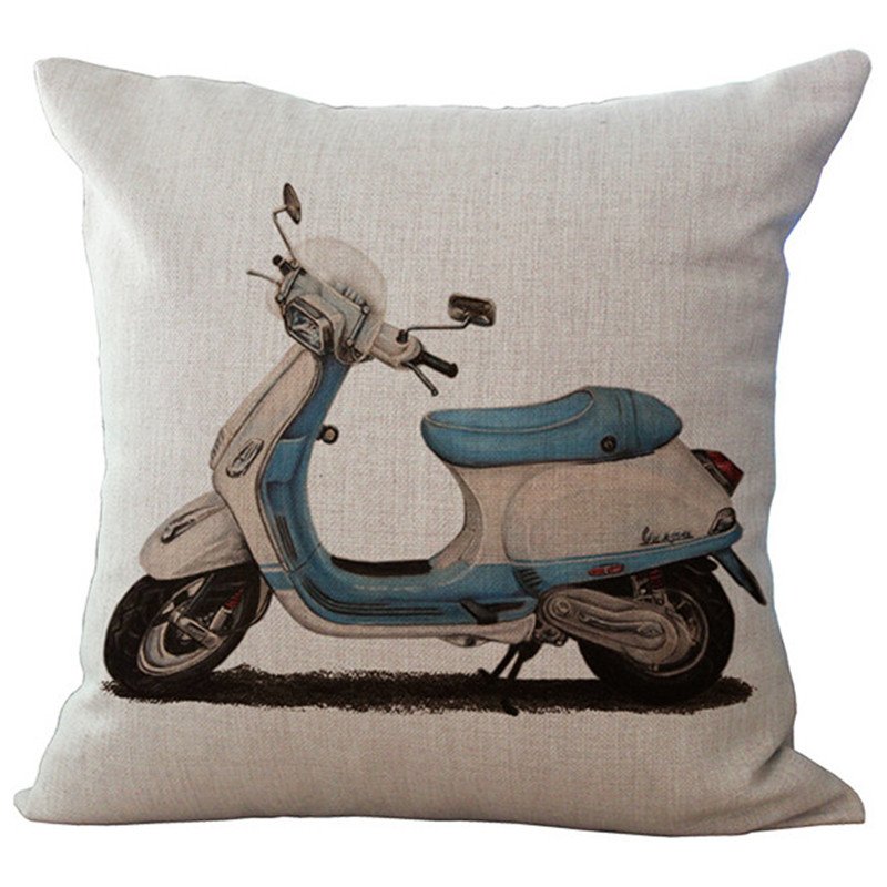 Maiyubo Bicycle Motorcycle Cushion Cover Modern Vintage Decorative Throw Pillow Case Scandinavian Chair Seat Waist Pillows PC479