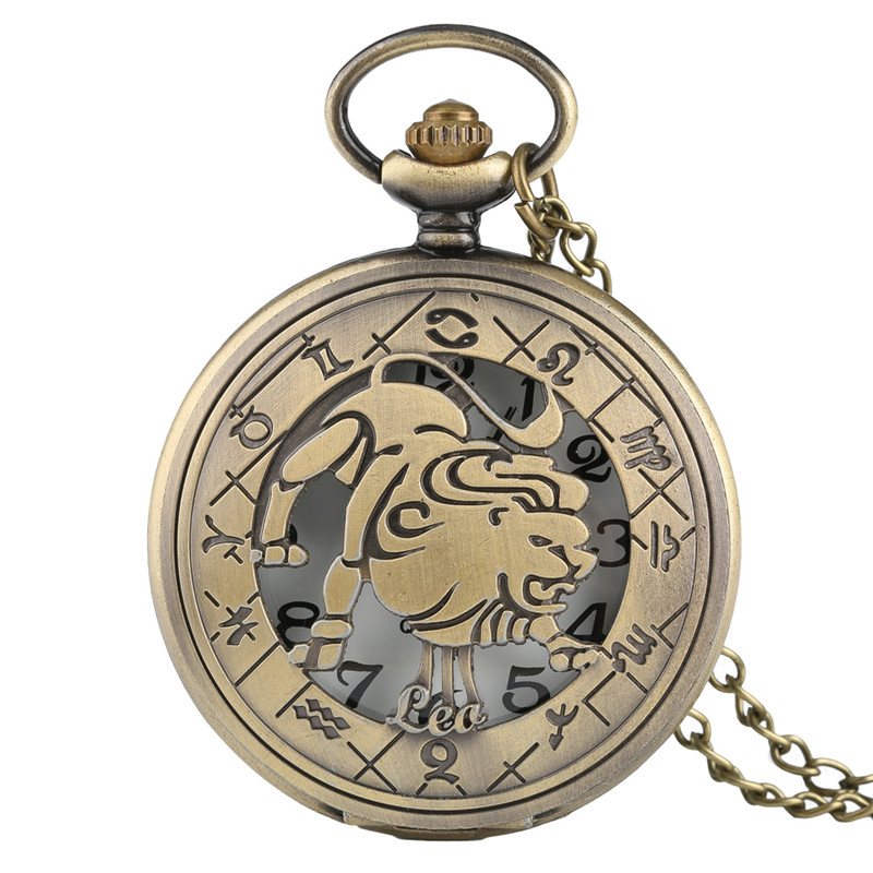 Twelve Constellations Leo Bronze Pocket Watches Retro Pendant Men's Women's Cool Quartz Half Hunter + Necklace Chain + Gifts Bag