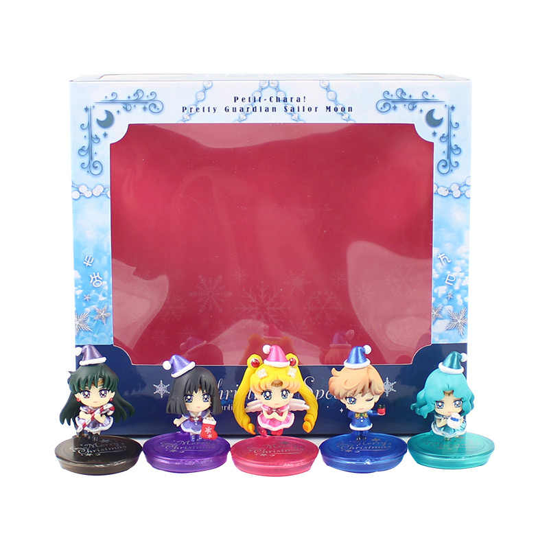 5Pcs/Lot Anime Sailor Moon Christmas Mercury Jupiter Chibi Saturn Sailor Moon Doll PVC Action figure model Ornaments Toy Gift