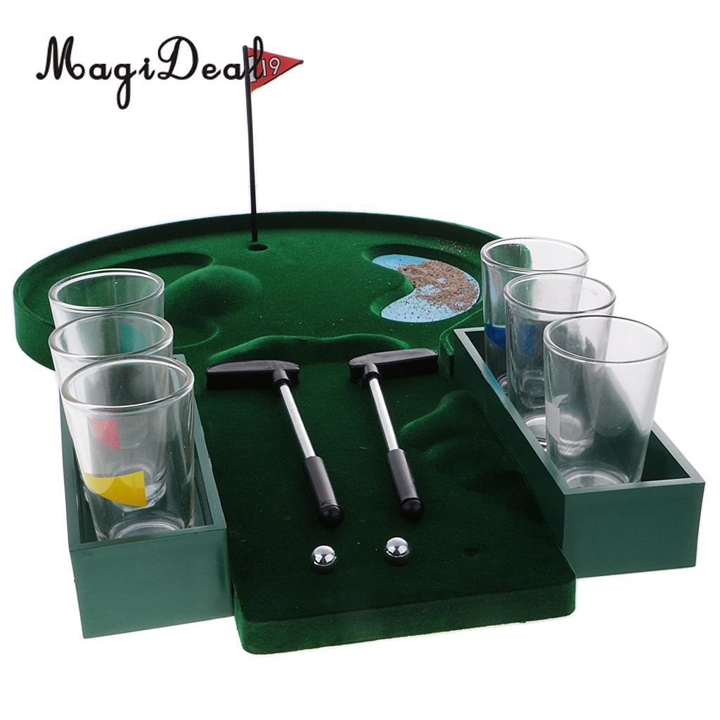 MagiDeal Novelty 1 Set Mini Table Golf Drinking Game Set With Shot Glasses for Family Pa ...