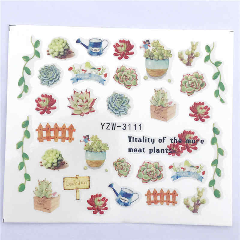 YWK 1 PC Pink Petals / Flowers / Green Leaves Water Transfer Sticker Nail Art Decals DIY Fashion Wraps Tips Manicure Tools