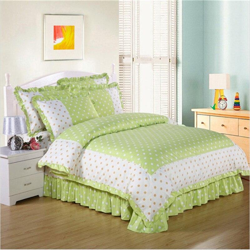 new process Geometric patterns 3D bedding comfort 4pcs 1pcs quilt cover/1pcs bed skirt/2pcs pillowcase free shipping