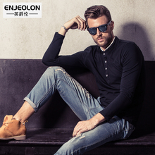 Enjeolon Brand 2017 Mens Fashion T Shirts,button fly stand collar For Man's Long Sleeve black Clothing,Slim Tops Tee RST1516-1