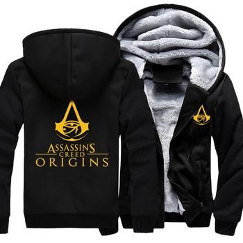 Assassins Creed Origins Hoodies Zipper Jacket Cosplay Bayek Assassins Brotherhood Thicken Coat Hoodie Sweatshirts