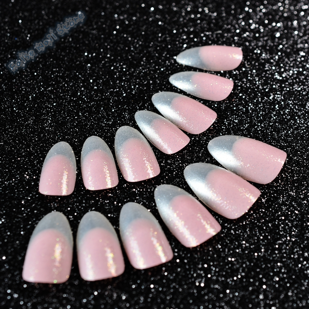 Clear Glitter Franse Nep Nagels Mooie Licht Roze Acryl Nagels Tips ...