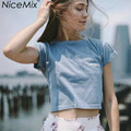 NiceMix Harajuku Crop Top Casual Summer T Shirt Women Tops New York Embroidery Tumblr Tee Shirt Femme T-shirt Cropped Feminino