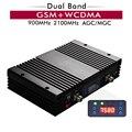 Усилитель мобильного сигнала  75 дБ  27 дБм  2G  3G  двухдиапазонный  GSM 900 WCDMA 2100 МГц  ретранслятор сотового сигнала с ЖК-дисплеем  функция AGC MGC