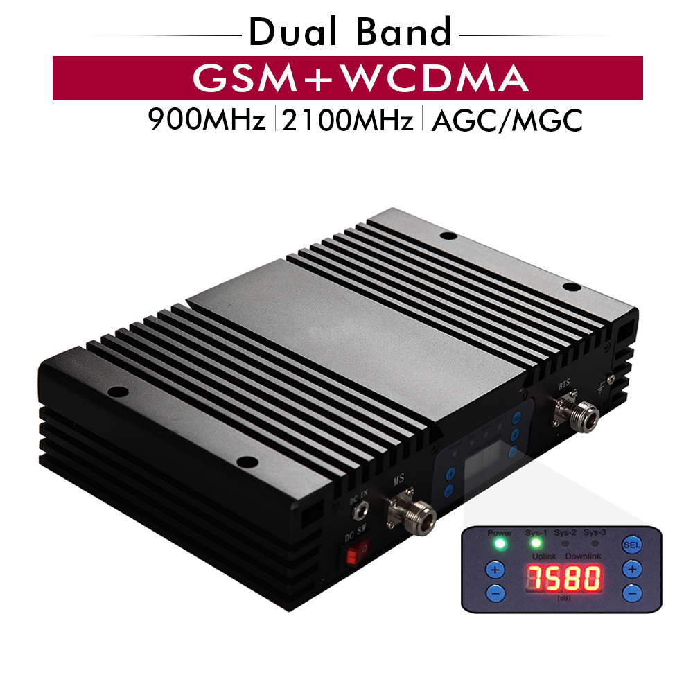 75dB Gain 27dBm 2G 3G Dual Band Booster GSM 900 WCDMA 2100 Mhz Cellular Mobile Signal Repeater With LCD Display AGC MGC Function