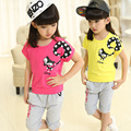 2016 New Cartoon Girls Summer Suit For Children Section Two Sets Fox Behalf Girl Clothes Baby Kids