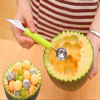 1PCS Ice cream balls spoonful of DIY assorted cold cuts tool watermelon melon fruit carving knife knife gadgets Color random форма для нарезки арбуза