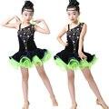 Lentejuelas Muchachas De Baile Latino vestido de la Danza del Ballet Niños Jazz Trajes del Funcionamiento de la competencia de patinaje vestidos de salón de baile frauen kleid