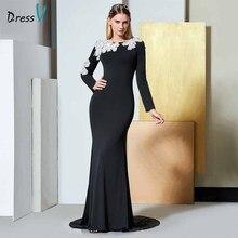 Dressv черное элегантное вечернее платье с длинными рукавами с глубоким вырезом и цветком, свадебное официальное платье русалки, вечернее платье es