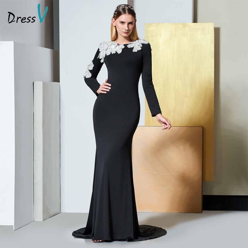 Dressv noir élégant manches longues robe de soirée scoop cou trompette fleur de mariage partie formelle robe sirène robes de soirée