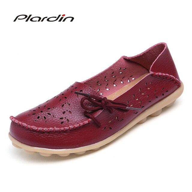 plardin Plus Size 2019 Ballet Cut Out Women Genuine Leather Shoes Woman Flat Flexible Round Toe Nurse Casual Fashion Loafer
