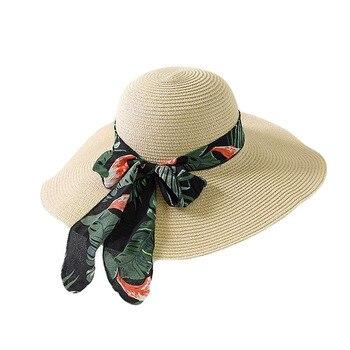BINGYUANHAOXUAN 2018 New Summer Female Sun Hat Bow Ribbon Panama Beach Hats for Women Chapeu Feminino Sombrero Floppy Straw