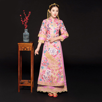 Pink New High Quality Embroidery Flower+peacock Qipao Royal Women Marriage Suit Chinese Vintage Wedding Party Dress Cheongsam