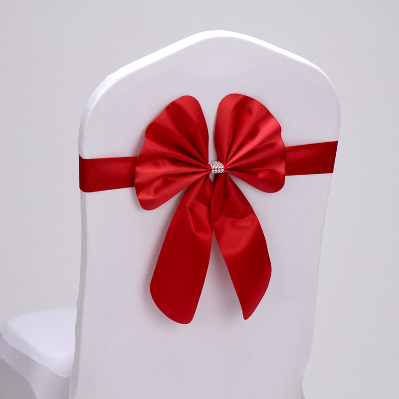 Оптовая продажа 50 шт./лот красный/синий 16 цветов PU кролик Bow Tie крышка стула створки полосы для свадьбы для вечеринки, дня рождения для торжес...