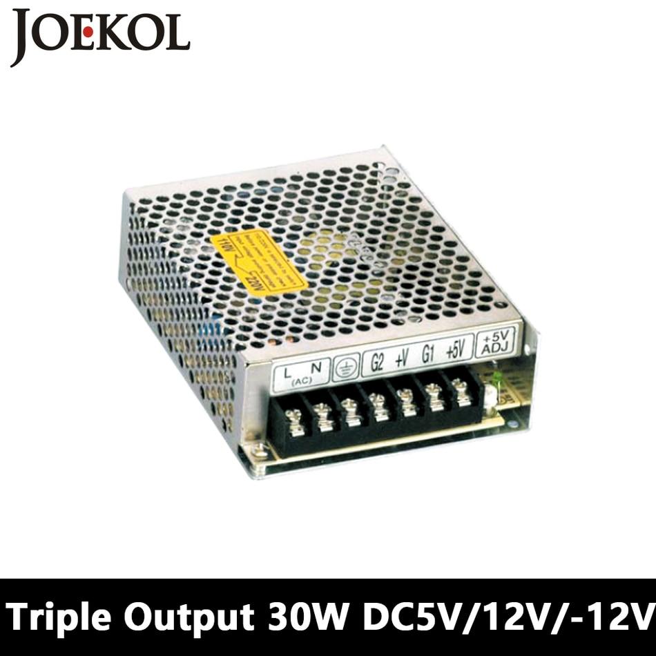 Triple Output Switching Power Supply 30W 5V 12V -12V,dc Power Supply For Led Driver,AC110V/220V Transformer To DC 5V 12V -12V meanwell 12v 350w ul certificated nes series switching power supply 85 264v ac to 12v dc