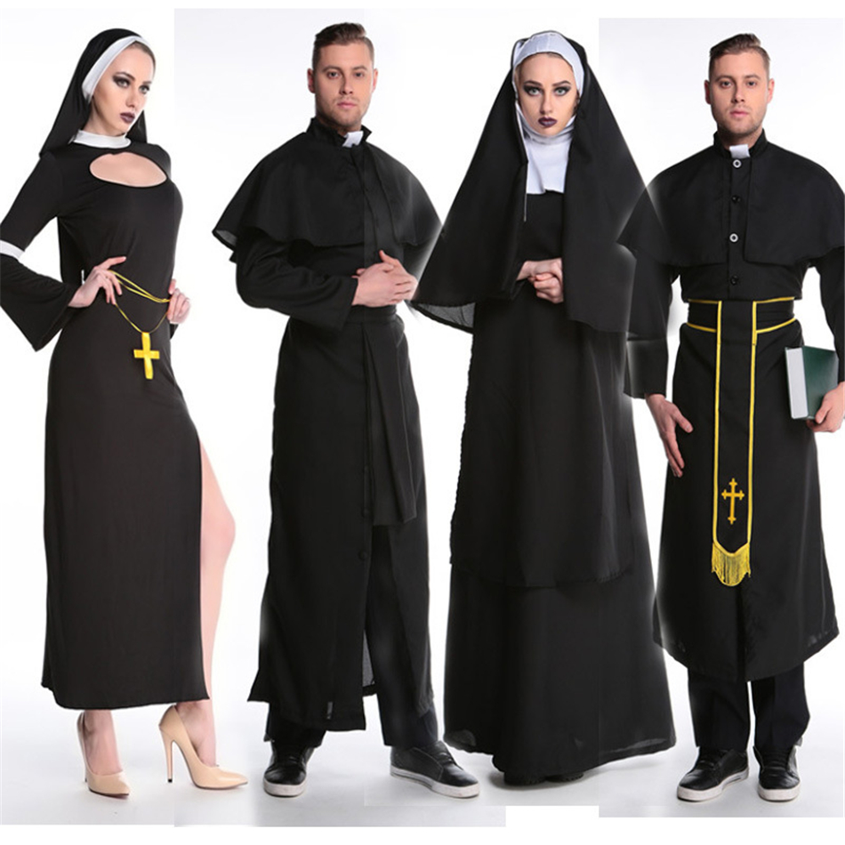 Medieval Cosplay Halloween Costumes for Women Priest Nun Missionary Costume Set 7