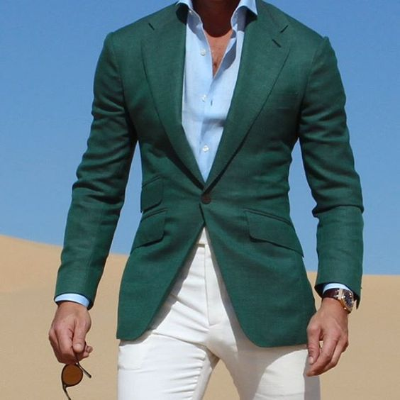 Mix&Match Dark Green Jacket With Ivory Pants 2017 Casual Vacation Wear Young Men Suit Fashion Party Prom Vestidos (Jacket+Pants)