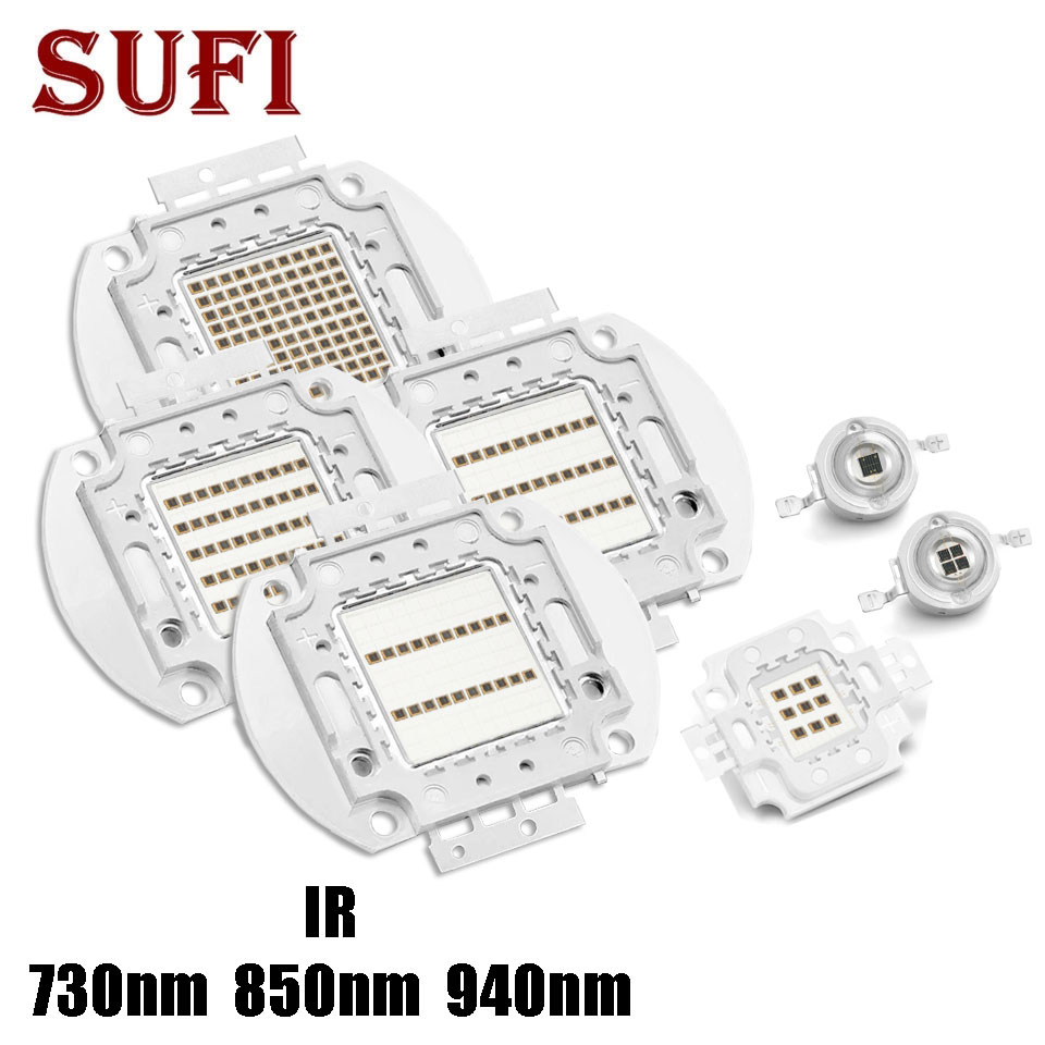 High Power LED Chip IR <font><b>730nm</b></font> 850nm 940nm 3W 5W 10W 20W 30W 50W 100W COB integrated Matrix Light Beads For Night Vision Camera image