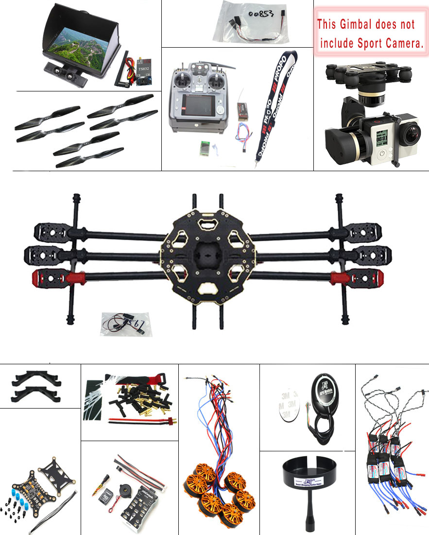 F07807-H JMT DIY 2.4G 10CH PX4 GPS 5.8G FPV 680PRO RC Hexacopter Unassembled Full Kit ARF No Battery RC Drone MINI3D Pro Gimbal