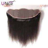 "UNice Haar Icenu Remy Haar Serie Gerade Brasilianische Haar Spitze Frontal 13 ""x4"" Freies Teil Spitze Verschluss 1 stück 100% Menschliches Haar"