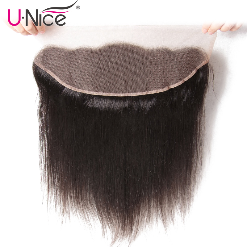 """UNice Hair Icenu Remy Hair Series Straight Brazilian Hair Lace Frontal 13""""x4""""Free Part Lace Closure 1 Piece 100% Human Hair-in Closures from Hair Extensions & Wigs    1"""