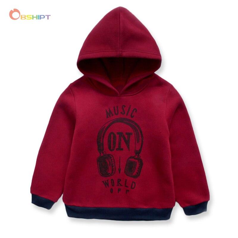 OBSHIPT Headphone Print Boys Hoodies With Fleece Fashion Jacket for Boys Sweatshirt Cotton Kids Clothes Chirldrens Hoodies Coat