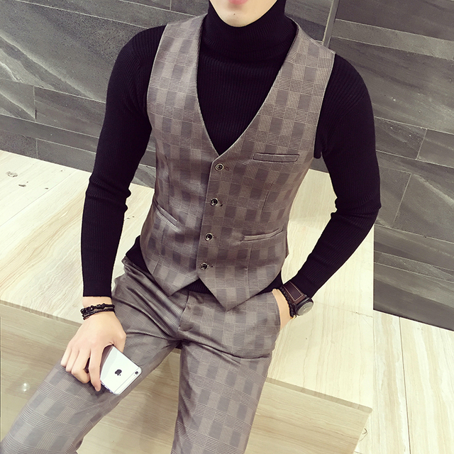 Men's suits vest 2017 spring the new high quality fashion, cultivate one's morality plaid waistcoat