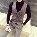 Ternos masculinos colete 2017 primavera a nova moda de alta qualidade, cultivar a moralidade colete xadrez