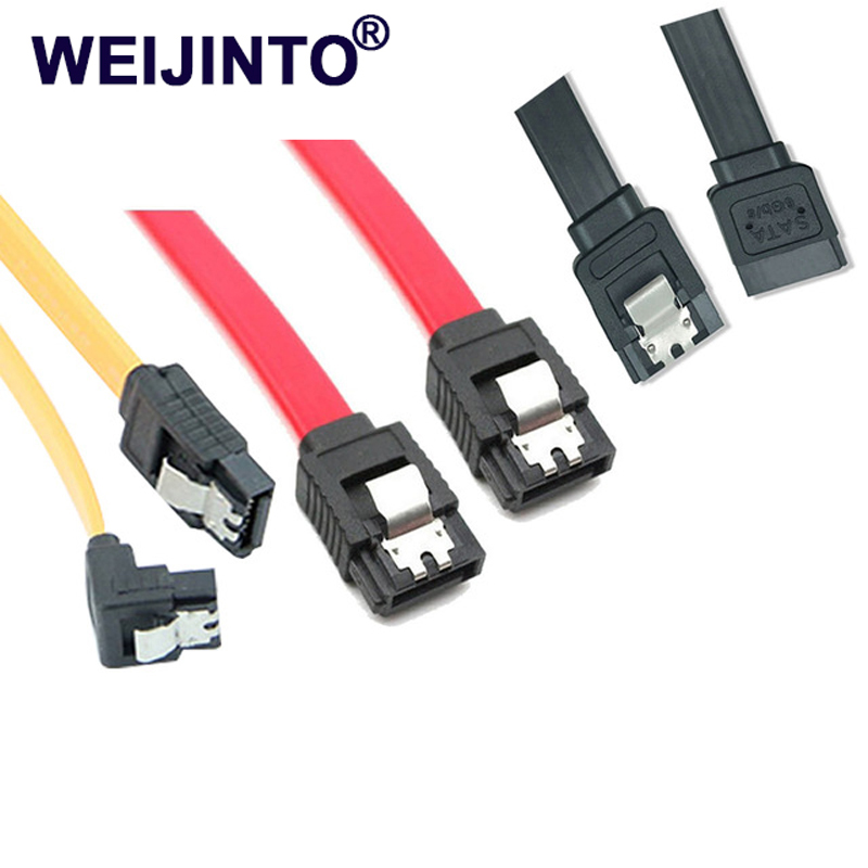 WEIJINTO Super Speed 45CM Straight 90 Right Angle 3.0 6GB/s SATA Cable Yellow Red Black sataIII cables for SSD HD HDD жесткий диск sata 10tb 6gb s 256mb red wd100efax wdc