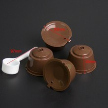 4Pcs/Set Filter coffee filter With 1PC Plastic Spoon Reusable capsules cups Compatible For Nescafe Dolce Gusto