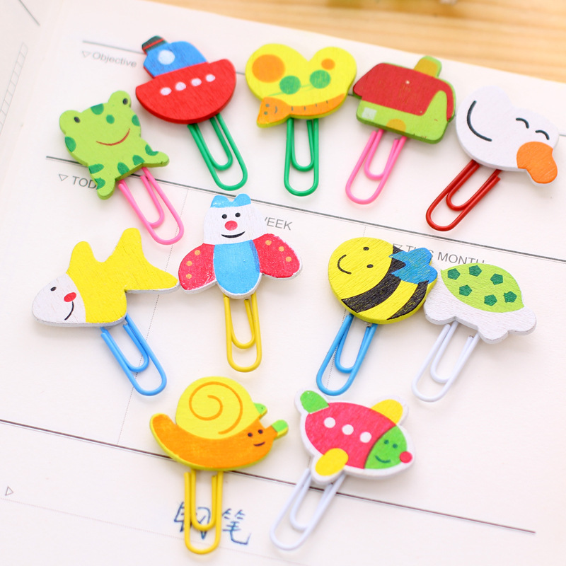 12pcs/lot Cartoon Wooden Paper Clips Cute Animals Clip/bookmarks Coloured Drawing Or Pattern