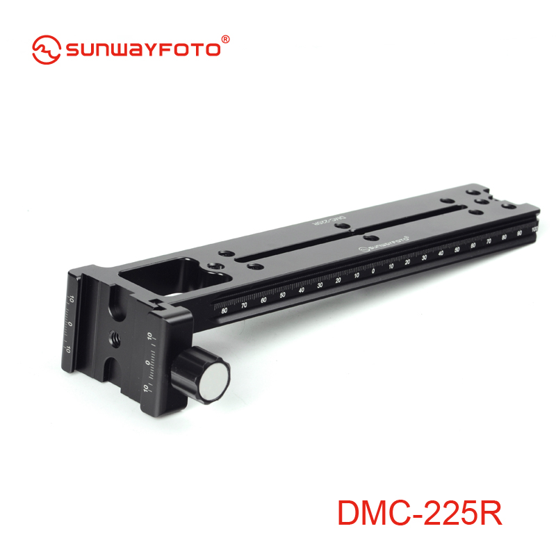 SUNWAYFOTO DMC-225R 225mm Tripod Head Quick Release Plate for DSLR Camera Vertical Rail with Screw-knob Telephoto Lens Support