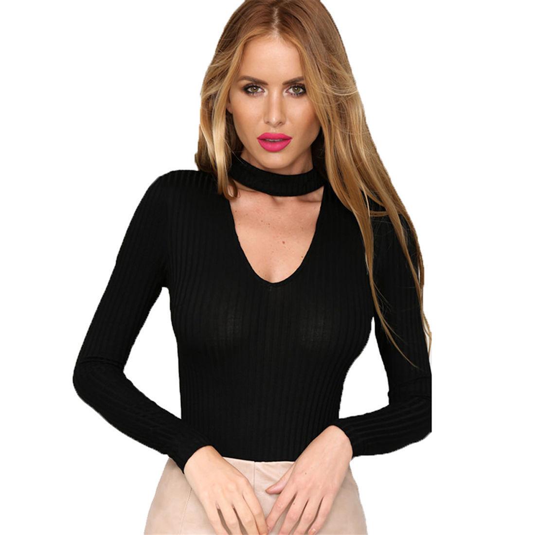 New Women V Neck Long Sleeve Bodycon Bandage Bodysuit -6212