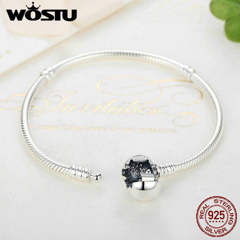 Luksusowe 100% 925 Sterling srebrna iskrząca serce wąż łańcuch Fit oryginalne koraliki Charm bransoletka i bransoletka dla kobiet w porządku biżuteria
