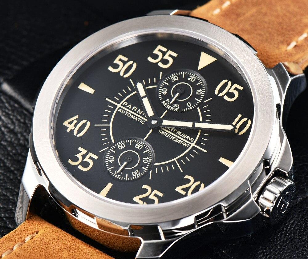 2017 Automatic Watch Men Parnis 43mm Mechanical Wrist Watch Power Reserve Auto Date