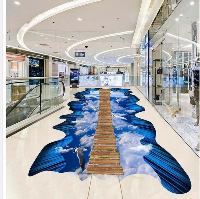 3d Exhibition Hall : Home decoration blue sky and white clouds wooden walkway