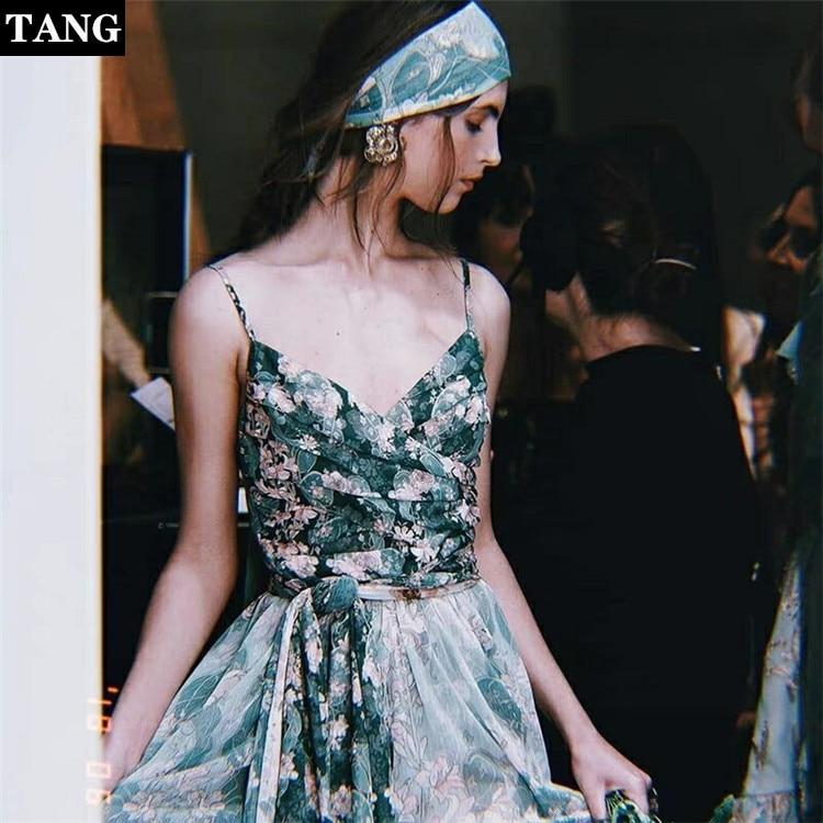 Tang 2019 printemps été nouvelle robe verte de vacances de haute qualité longueur au sol robes robe fronde imprimé couture longue robe maxi