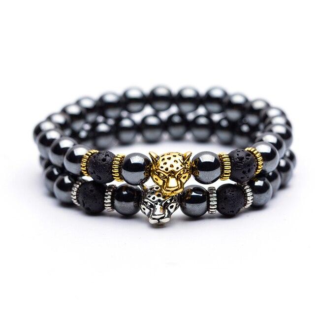 008264aac235 Hematita Piedra cuenta hebra pulsera dorada y plata Pantera corona colgante  pulseras dijes y brazaletes para