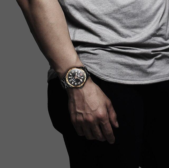 Men Gold Watches Top Brand Naviforce 9106 Sport Watch Men Waterproof Full Steel Quartz Army Military Watch Man Relogio Masculino