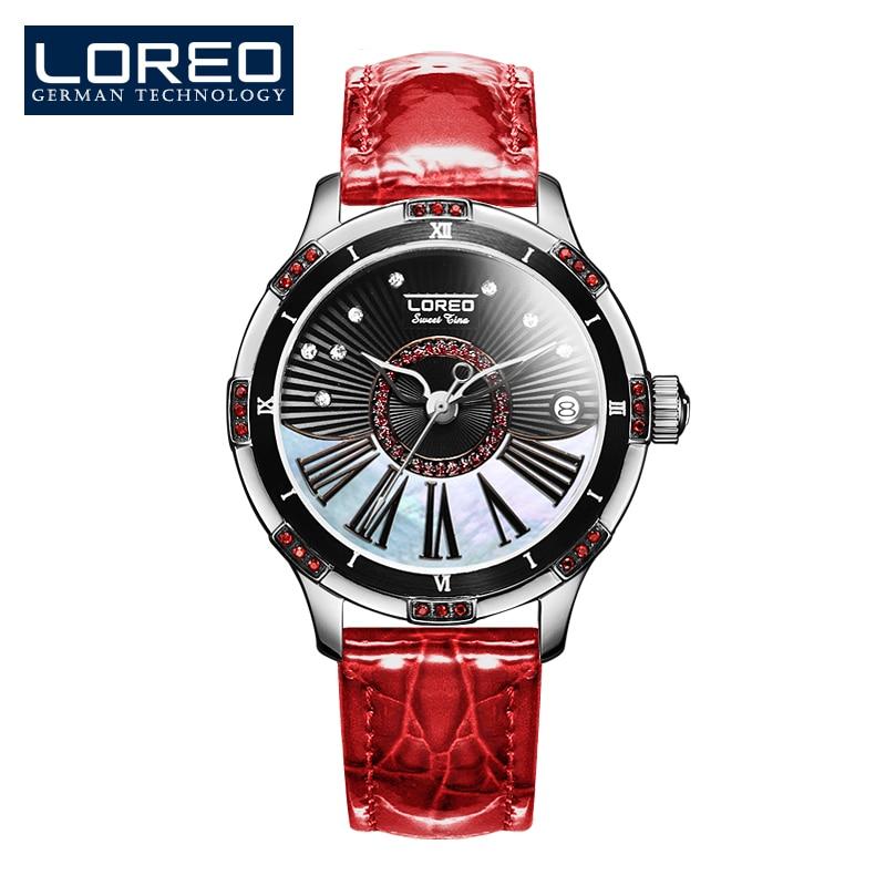 LOREO Germany watch women luxury brand automatic mechanical Pearl dial inlay diamond sapphire black Leather belt карабин black diamond black diamond rocklock twistlock